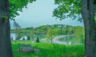 Фото бесплатно Новая Англия, скамейка, клены
