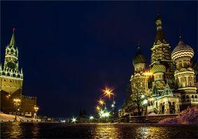 Фото бесплатно Площадь Васильевский спуск, Собор Василия Блаженного, ночь
