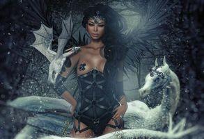 Бесплатные фото девушка,фантастическая девушка,ангел,драконы,дракон,фантастика,art