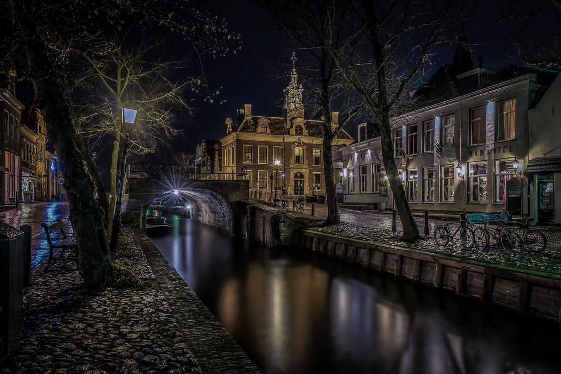 Фото бесплатно Нидерланды, город, ночь, канал, огни, городской пейзаж - на рабочий стол