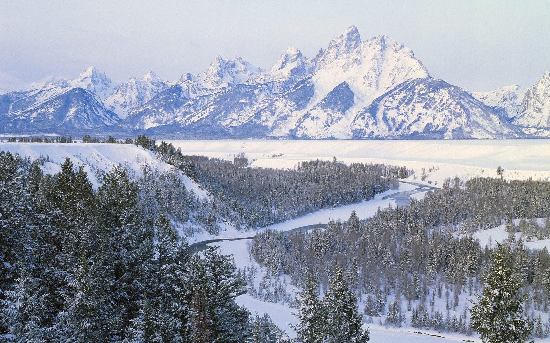 природа зима снег горы скалы деревья  № 2781247  скачать