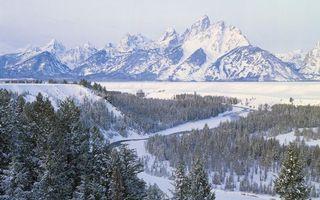 Бесплатные фото зима,снег,деревья,река,горы,скалы