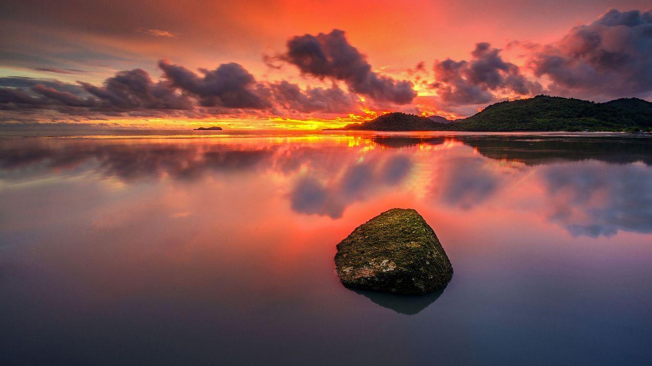 Фото валун море закат - бесплатные картинки на Fonwall