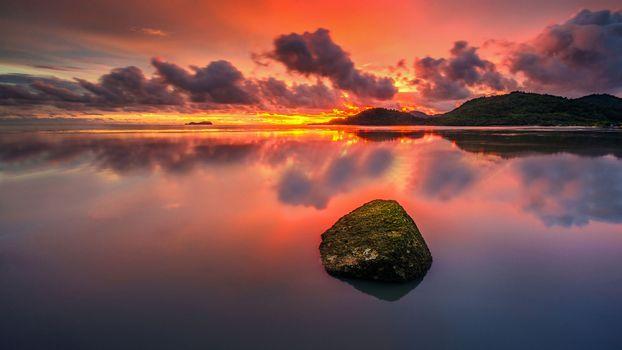 Фото бесплатно валун, море, закат