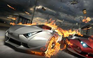 Бесплатные фото гонка,машины,огонь,пламя,погоня,вертолет