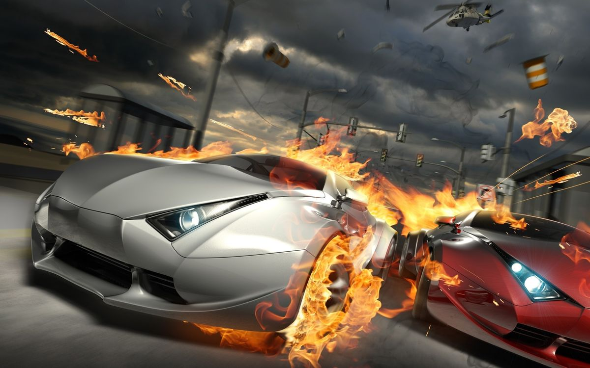Фото бесплатно гонка, машины, огонь, пламя, погоня, вертолет, игры