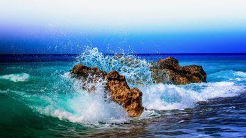 Photo free sunset, splashes, waves
