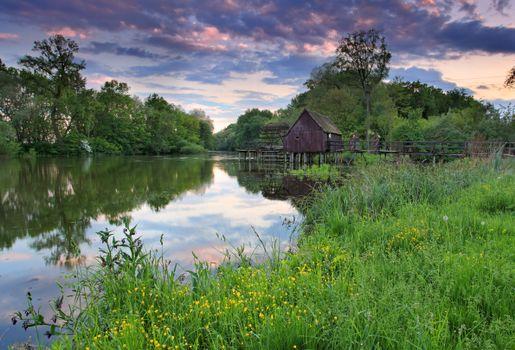 Photo free landscape, bridge, house