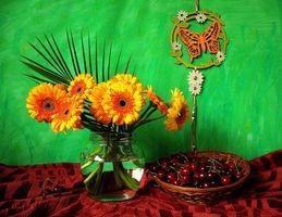 Фото бесплатно цветы, черешня, натюрморт