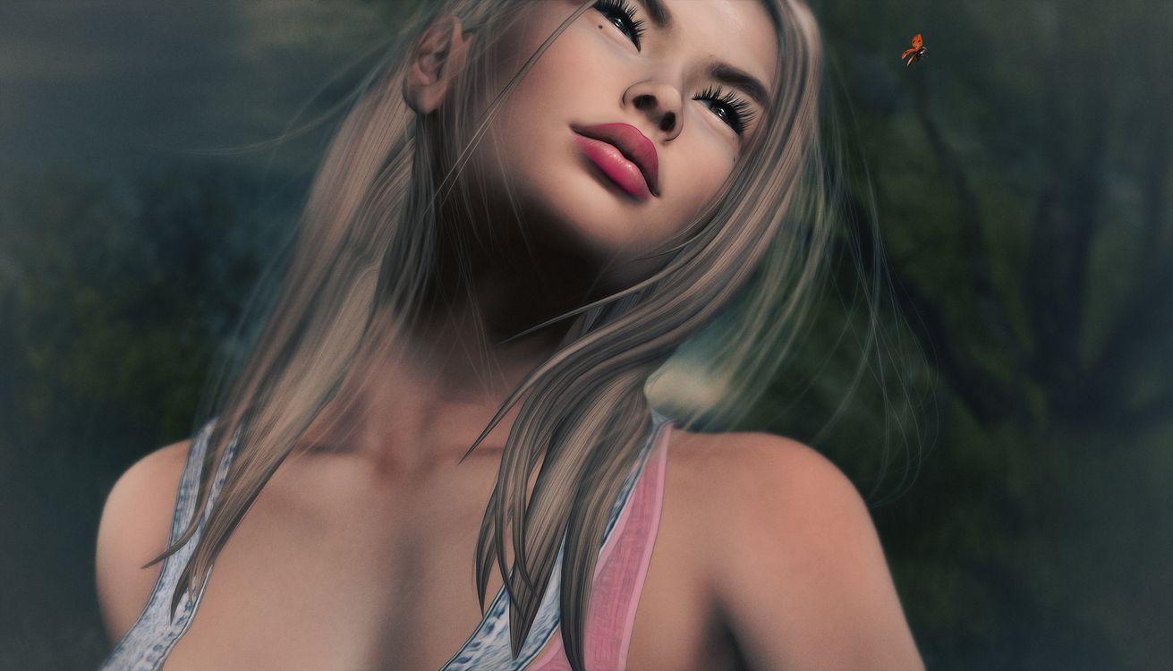 Фото бесплатно девушка, романтика, божья коровка, фэнтези, креатив, стиль, причёска, губы, глаза, рендеринг - скачать на рабочий стол
