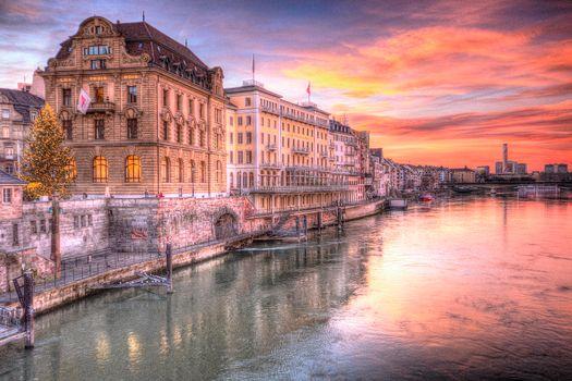 Фото бесплатно закат, Рейн, Швейцария
