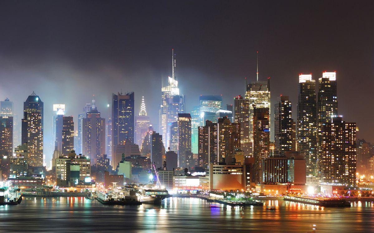 Фото бесплатно огни, побережье, небоскребы - на рабочий стол