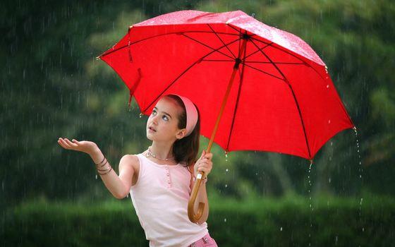 Фото бесплатно девочка, зонтик красный, дождь