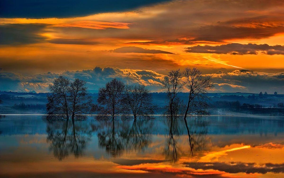 Фото бесплатно озеро, деревья, закат - на рабочий стол