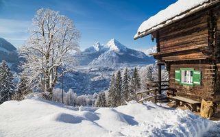 Заставки зима, горы, домик