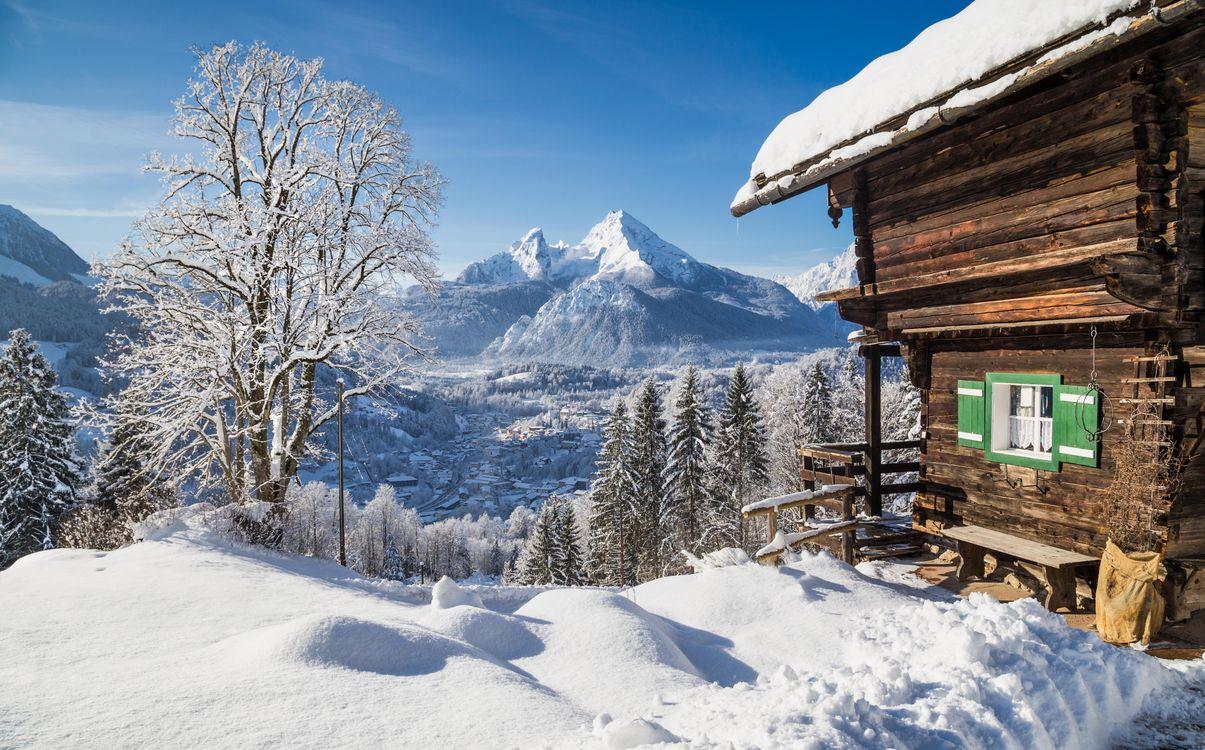 Фото бесплатно зима, горы, домик, деревья, пейзаж, пейзажи