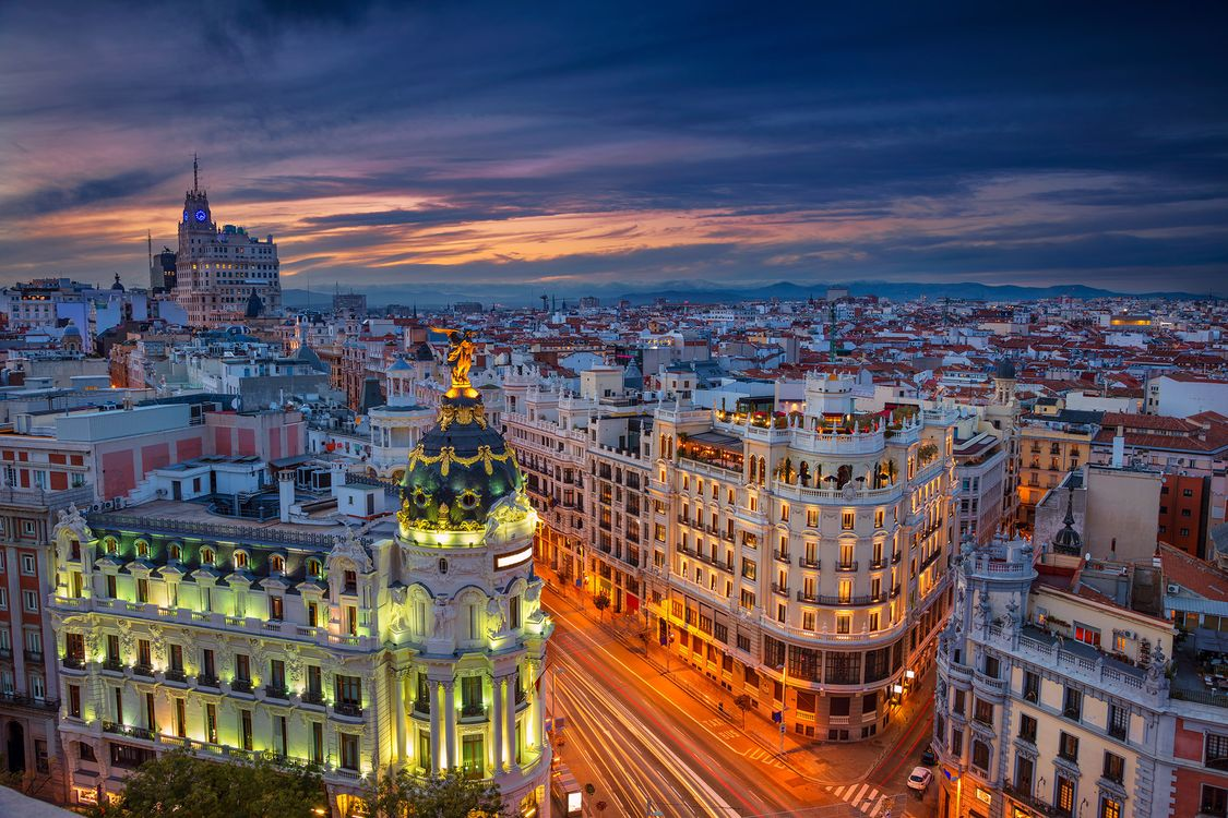 Обои Мадрид, город, огни картинки на телефон