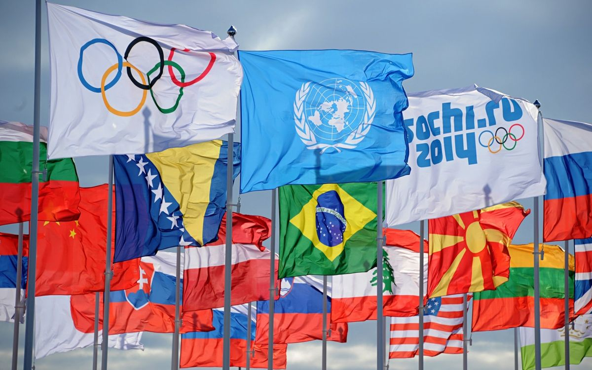 Фото бесплатно олимпиада, Сочи, флаги - на рабочий стол