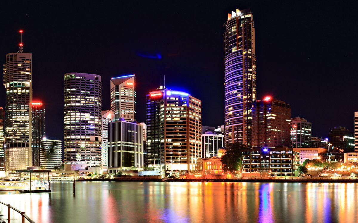 Фото бесплатно ночь, здания, набережная - на рабочий стол