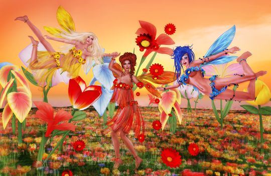 Фото бесплатно поле, цветы, девушки