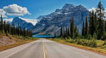 Фото бесплатно загородная дорога, горы, елки
