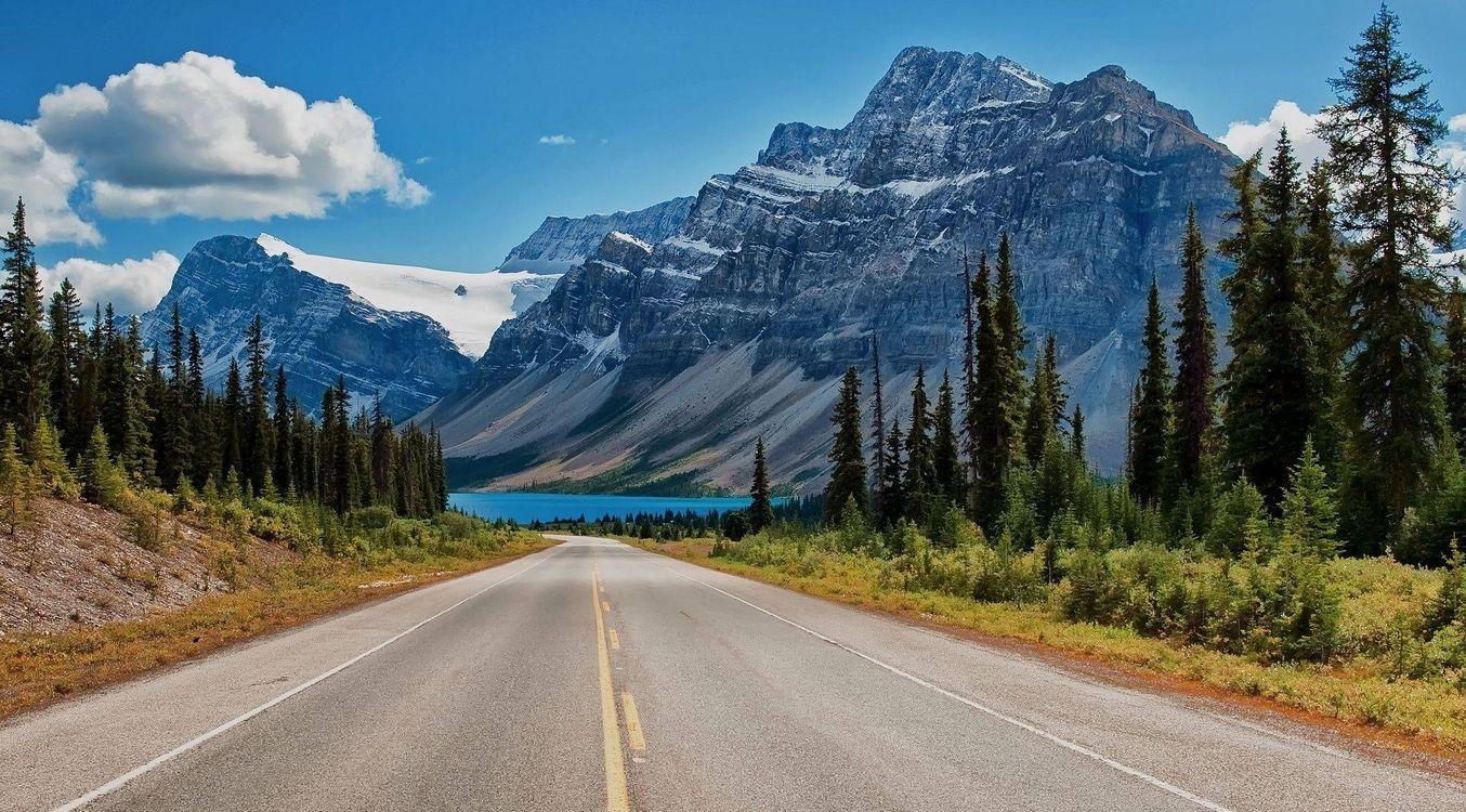 Фото бесплатно загородная дорога, горы, елки, лето, пейзажи