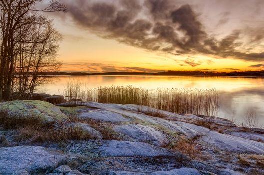 Заставки Карлстад,Вермланда,Швеция,Природа,Пейзаж,морской пейзаж,Закат солнца