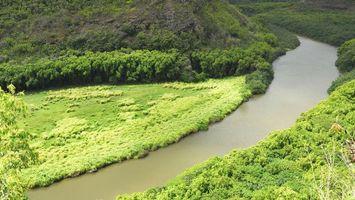 Бесплатные фото лето,река,берега,холмы,трава,кустарник,деревья