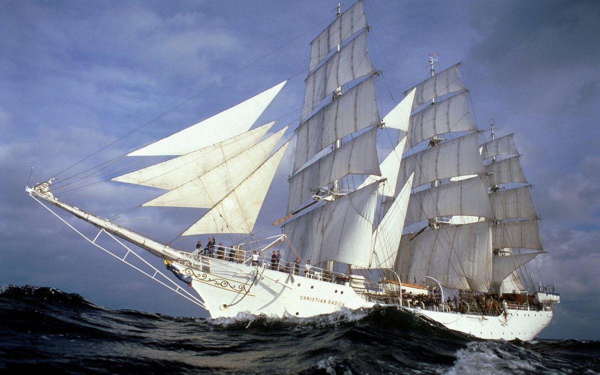 Фото бесплатно море, волны, корабль, мачты, паруса, люди, корабли