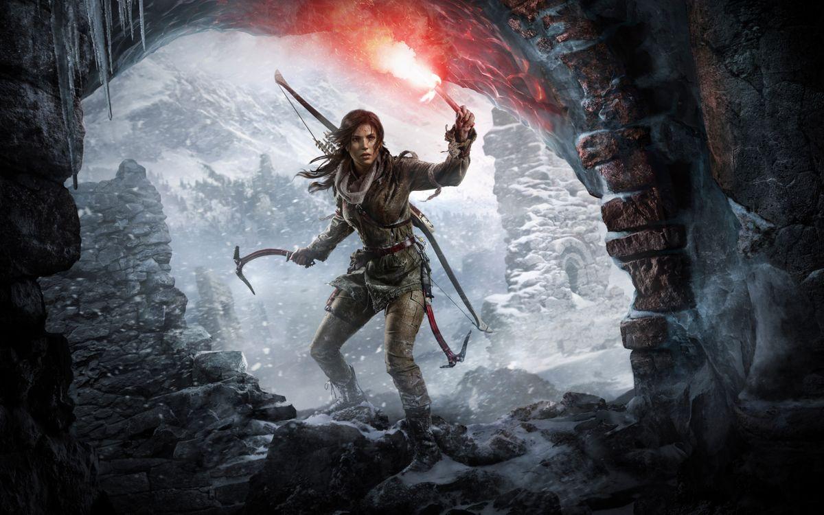 Фото бесплатно Rise of the Tomb Raider, Лара Крофт, факел - на рабочий стол