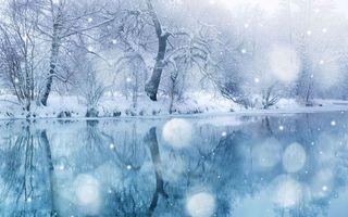 Бесплатные фото зима,река,отражение,берег,деревья,снег