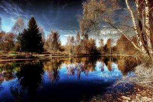 Бесплатные фото осень,пруд,водоём,деревья,небо,пейзаж