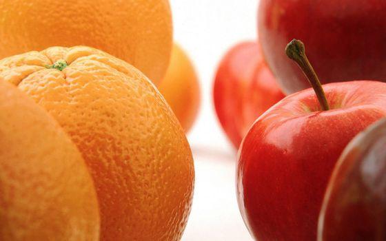 Фото бесплатно фрукты, апельсины, яблоки, фон белый