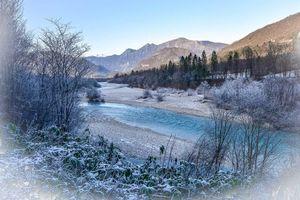 Фото бесплатно горы, река, деревья