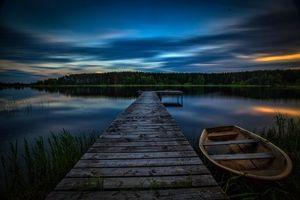 Фото бесплатно лодка, закат, мост