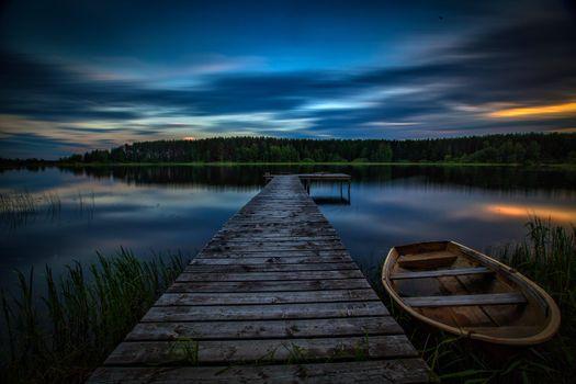 Заставки закат, озеро, мостик