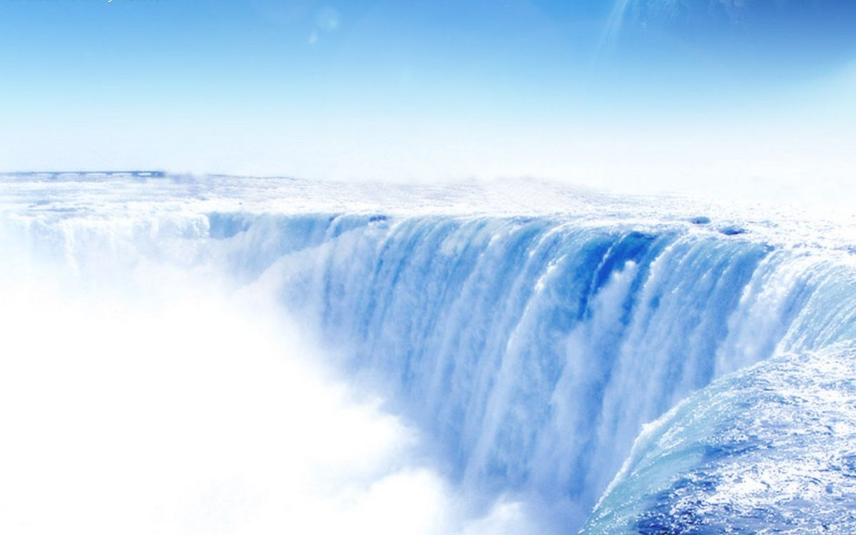 Фото бесплатно река, течение, обрыв, водопад, брызги, туман, природа