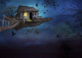 Обои воздушный остров, домик, девушка, черепа, мост, ночь, вороны, Фантасмагория, фантастика