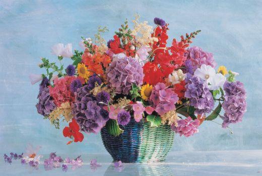 Beautiful wallpapers flowers basket telephone