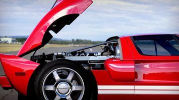 Фото бесплатно форд гт, красный, диски
