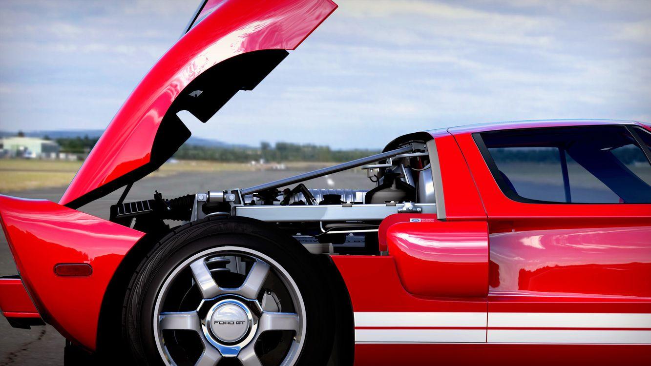 Фото бесплатно форд гт, красный, диски, капот, двигатель, воздухозаборник, машины