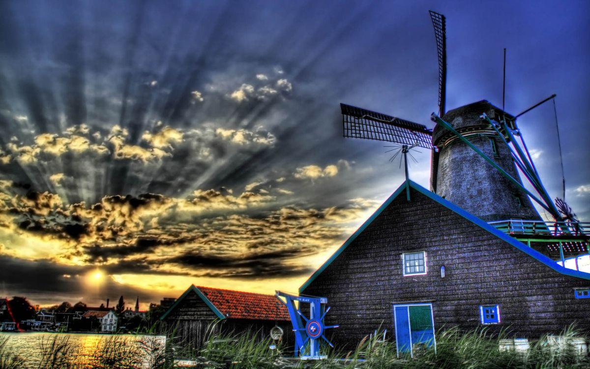 Фото бесплатно ветряная мельница, здания, постройки - на рабочий стол