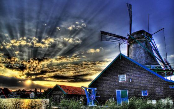 Photo free windmill, buildings, grass