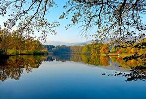 Фото бесплатно озеро, осень, деревья, пейзаж, Штирия, Австрия