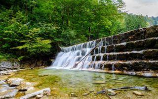 Бесплатные фото водопад, скалы, речка, деревья, природа