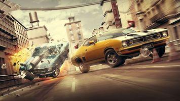 Бесплатные фото машины,гонка,город,авария,скорость,огонь