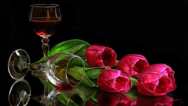 Бесплатные фото тюльпаны,бокалы,вино,цветы