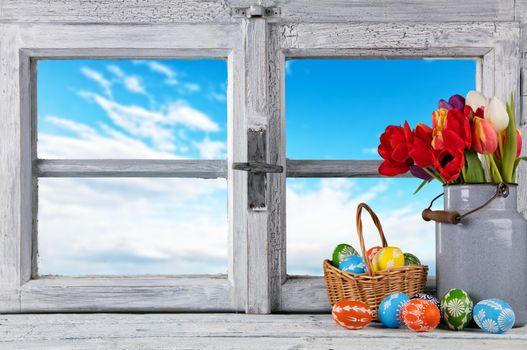 Бесплатные фото весна,окно,рама,пасха,пасхальные яйца,тюльпаны,с праздником пасхи