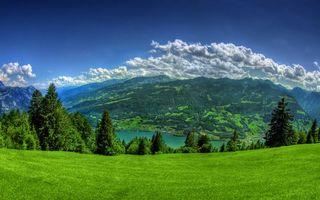 Бесплатные фото горы,трава,деревья,река,небо,облака