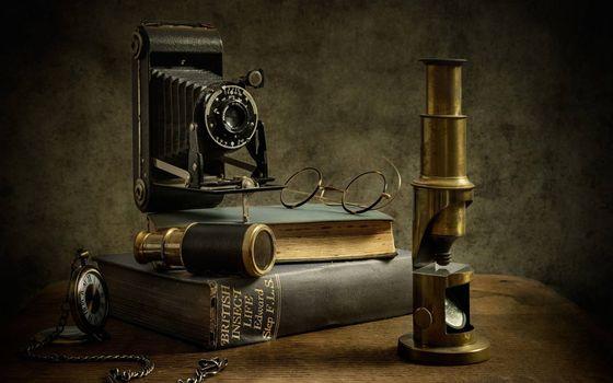 Фото бесплатно микроскоп, фотоаппарат, очки